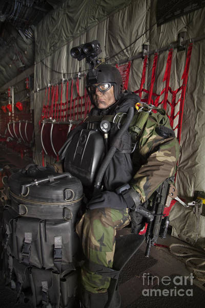 Special Operations Forces Photograph - U.s. Navy Seal Combat Diver Prepares by Tom Weber