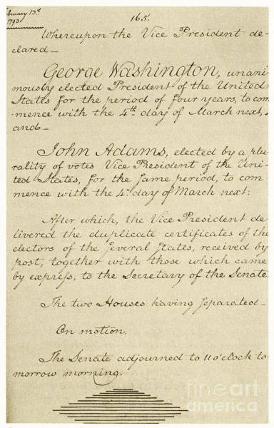 Cursive Photograph - Us Senate Journal, 1794 by Photo Researchers