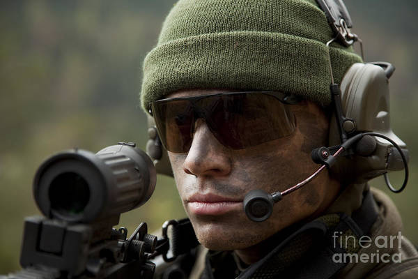 Photograph - U.s. Special Forces Soldier Stays Alert by Tom Weber