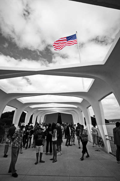 Uss Arizona Wall Art - Photograph - Uss Arizona Memorial Flag by Ty Helbach