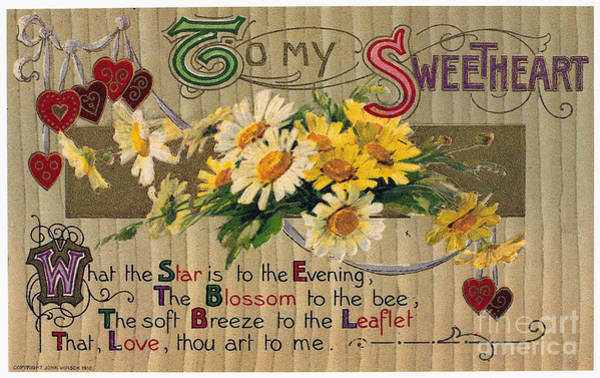 Photograph - Valentines Day Card, 1910 by Granger