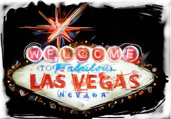 Neon Mixed Media - Vegas Baby by Russell Pierce
