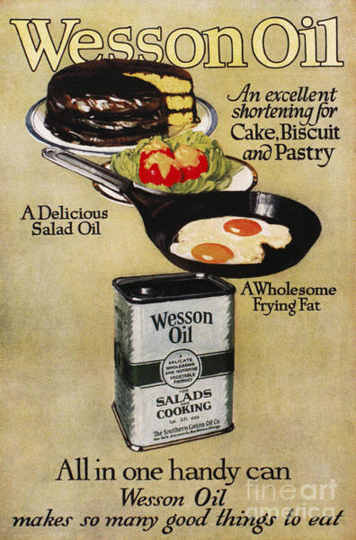 Salad Dressing Photograph - Vegetable Oil Ad, 1918 by Granger