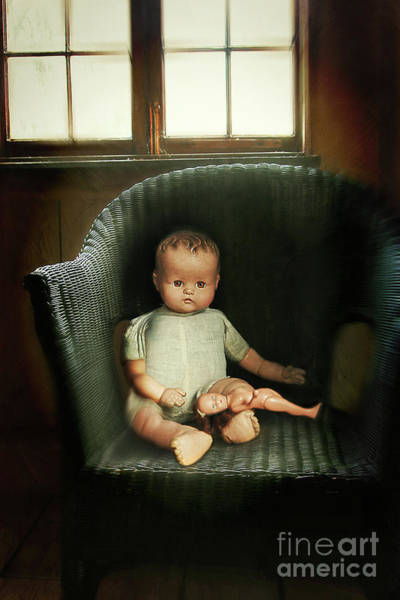 Doll Parts Photograph - Vintage Dolls On Chair In Dark Room by Sandra Cunningham