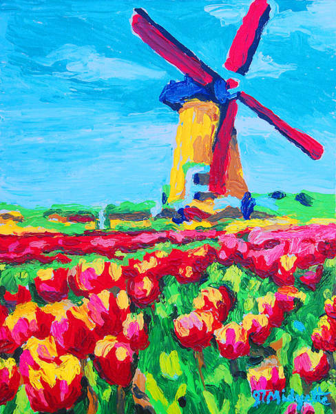 Dutch Tulip Painting - Windmill And Tulips by Tommy Midyette