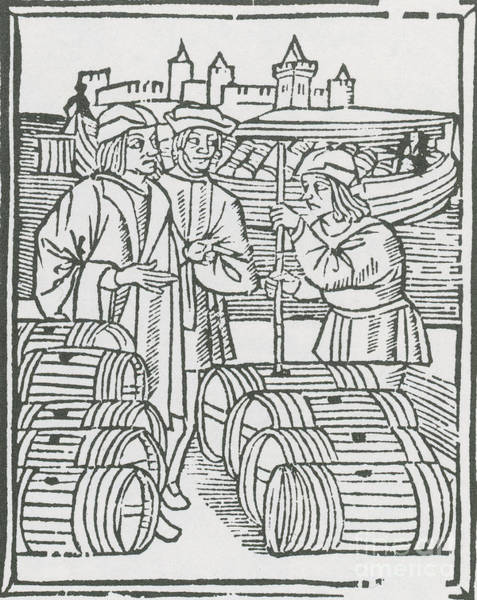 The Keg Photograph - Wine Merchant, Medieval Tradesmen by Science Source