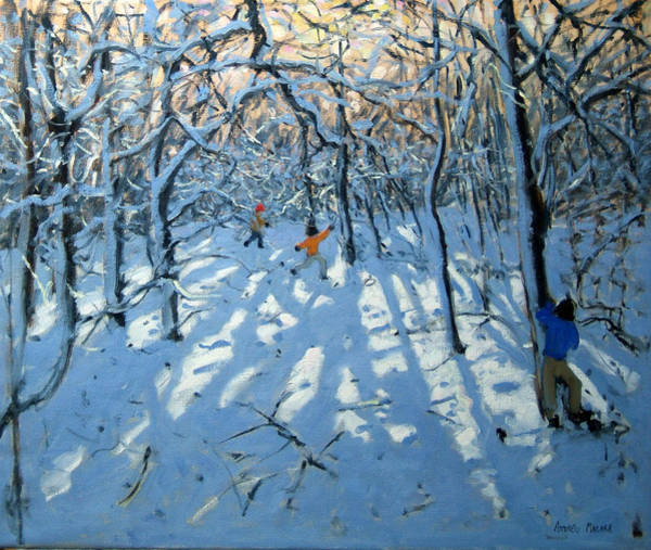 Seek Painting - Winter Woodland Near Newhaven Derbyshire by Andrew Macara