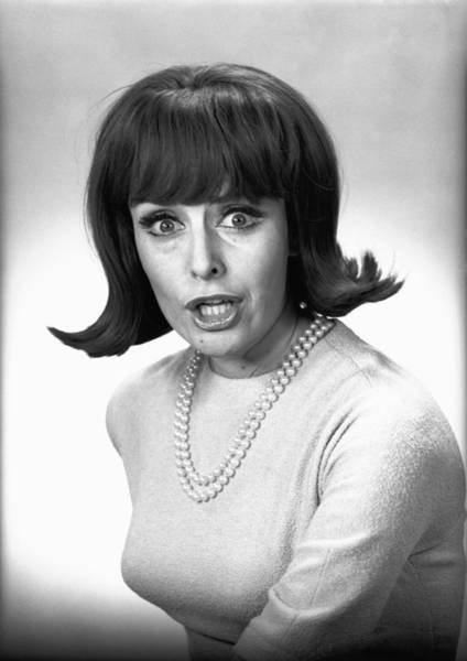 Bangs Photograph - Woman Making Face In Studio, (b&w), Portrait by George Marks
