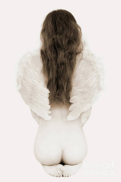 Wing Back Photograph - Woman With Angel Wings by Oleksiy Maksymenko