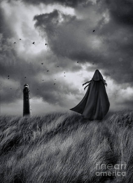 Photograph - Woman With Red Cape Walking In Sand Dunes   by Sandra Cunningham