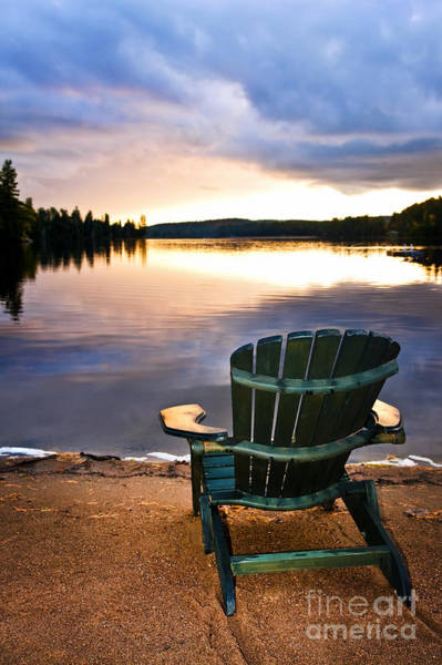Algonquin Park Photograph - Wooden Chair At Sunset On Beach by Elena Elisseeva