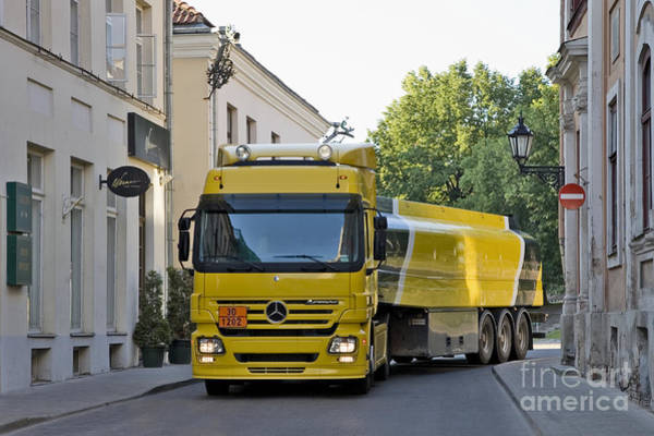 Wall Art - Photograph - Yellow And Black Fuel Truck by Jaak Nilson