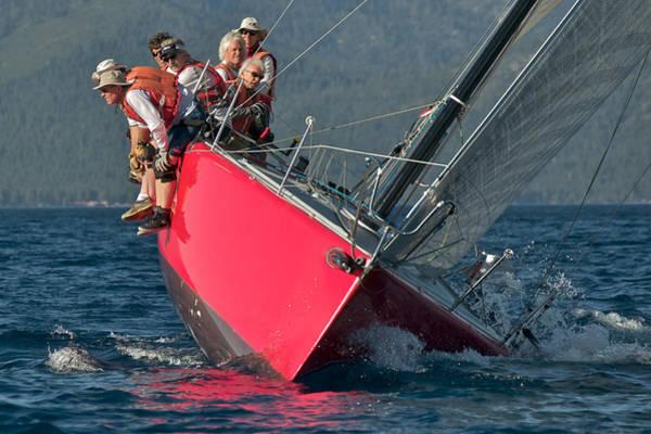 Racing Yacht Photograph - Lake Tahoe Sailboat Racing by Steven Lapkin