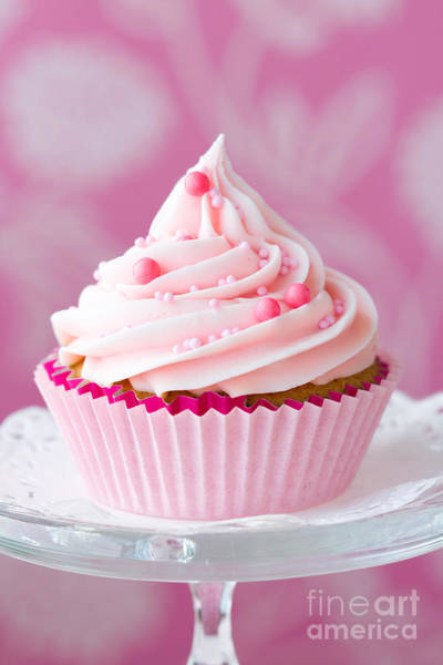 Fairy Cake Wall Art - Photograph - Pink Cupcake by Ruth Black