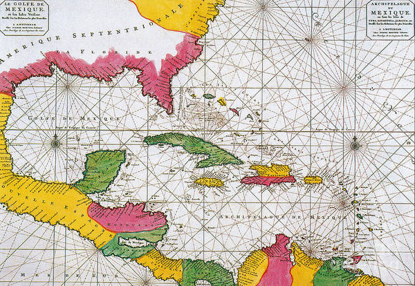 Photograph - 1708 Map Of The Spanish Main by Science Source