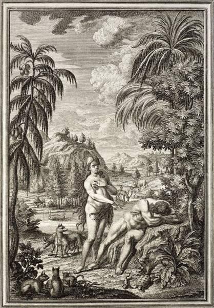 Creationist Wall Art - Photograph - 1731 Scheuchzer Creation Adam & Eve by Paul D Stewart