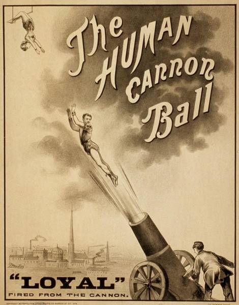 Trapeze Photograph - 1879 Circus Poster For Human Cannonball by Everett