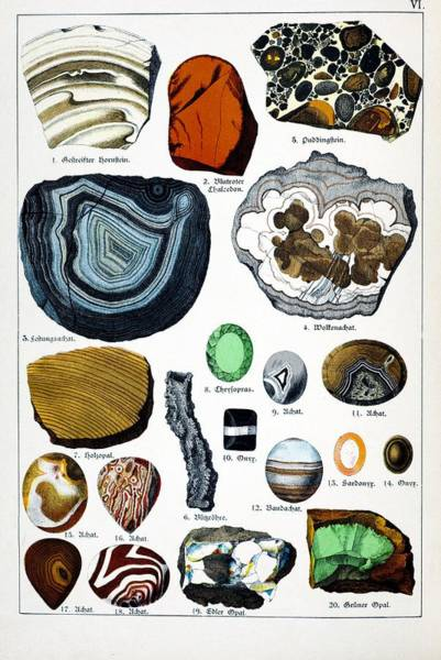 1888 Colour Lithograph Of Minerals Art Print