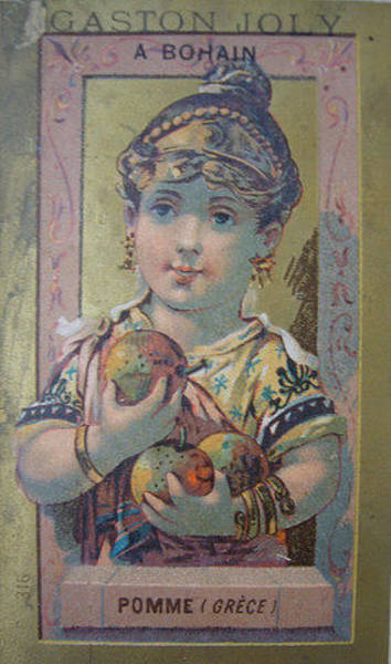 Restaurant Decor Drawing - 1890s Original French Label Gaston Joly Confectionary Apple  by Anonymous