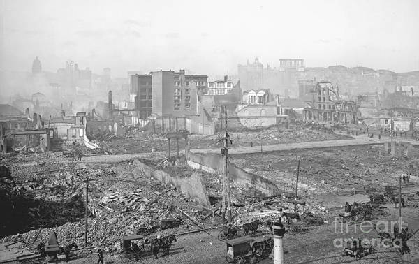 Call Building Photograph - 1906 Earthquake Damage To Nob Hill In San Francisco by Padre Art