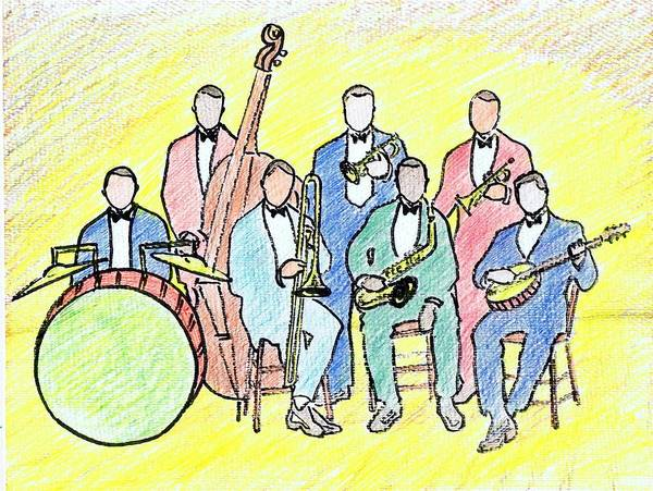 Wolverines Drawing - 1920s Jazz Band  by Mel Thompson
