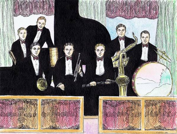 Vintage Chicago Drawing - 1920s Jazz Band With Curtains by Mel Thompson
