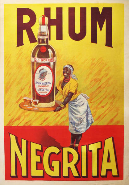 Restaurant Decor Drawing - 1920s Original Rhum Negrita French Vintage Poster  by Anonymous