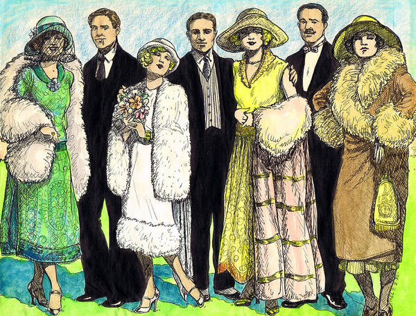 Flappers Drawing - 1920s Wedding by Mel Thompson