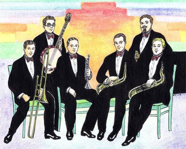 Sax Drawing - 1927 New Yorkers Jazz Band by Mel Thompson