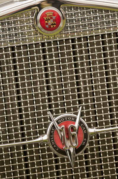 Auto Show Photograph - 1930 Cadillac 452 Fleetwood Grille Emblem by Jill Reger