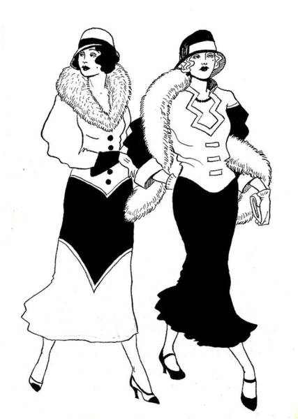 Flappers Drawing - 1930s Deco Ladies by Mel Thompson