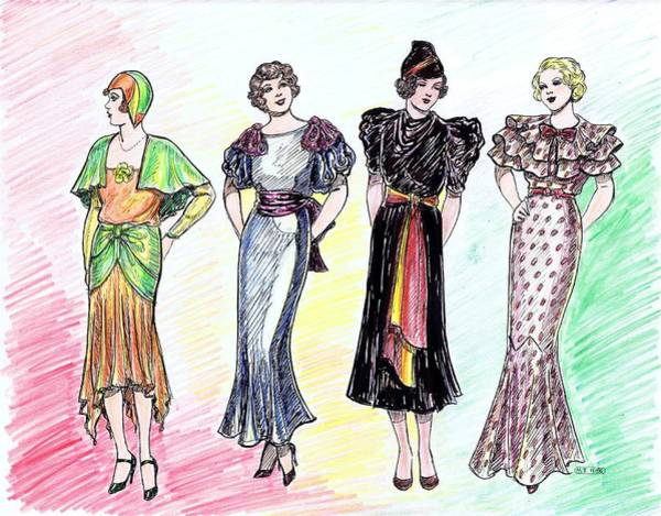 Flappers Drawing - 1930s Dresses by Mel Thompson