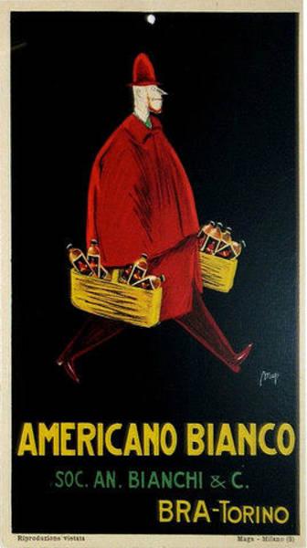 Restaurant Decor Drawing - 1933 Original Italian Art Deco Carton Americano Bianco Advertisement by Maya