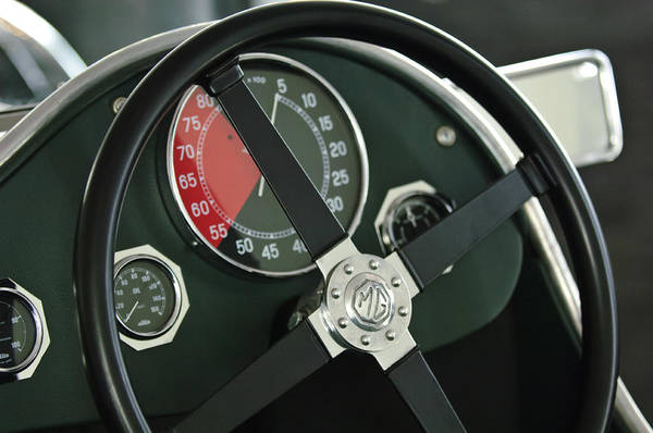 Photograph - 1934 Mg Pa Midget Supercharged Special Speedster Steering Wheel by Jill Reger