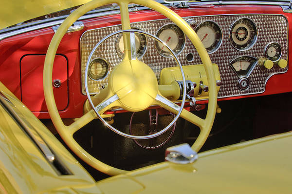 Photograph - 1937 Cord Sc Cabriolet Steering Wheel by Jill Reger