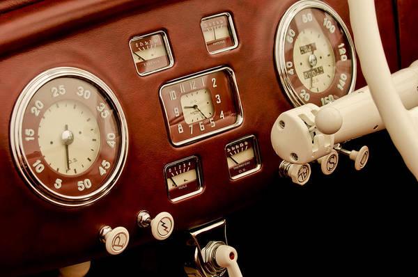 Auto Show Photograph - 1938 Delage D6-70 Letourneur Et Marchand Cabriolet Dashboard Instruments by Jill Reger