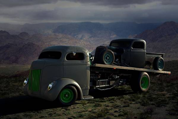 Photograph - 1940 Ford Coe Roll Back Tow Truck by Tim McCullough