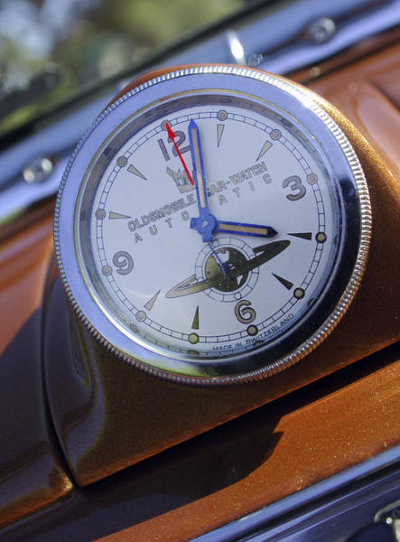 Photograph - 1950 Oldsmobile 88 Dashboard Clock by Jill Reger
