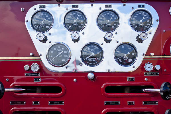 Photograph - 1952 L Model Mack Pumper Fire Truck Controls by Jill Reger