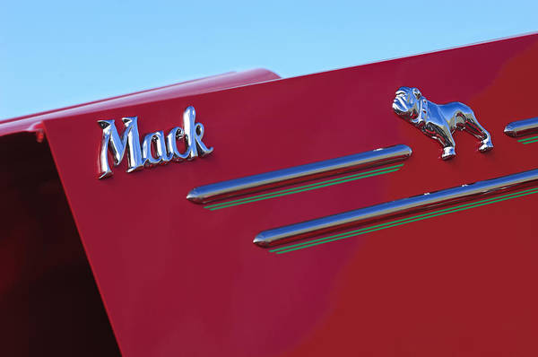Photograph - 1952 L Model Mack Pumper Fire Truck Hood Emblem by Jill Reger