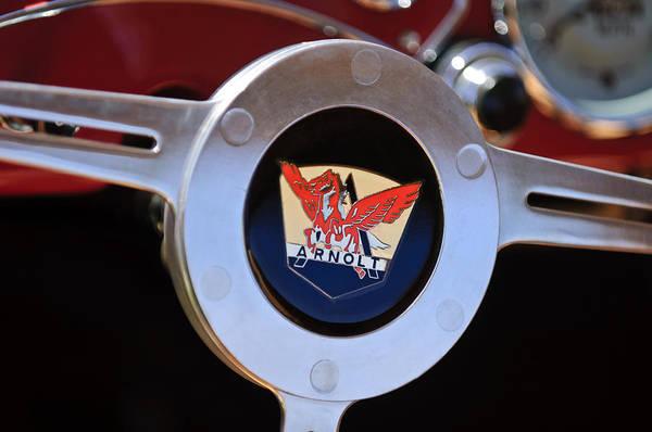 Mg Photograph - 1953 Arnolt Mg Steering Wheel Emblem by Jill Reger