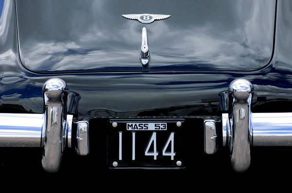 Photograph - 1953 Bentley Rear View License Plate by Jill Reger
