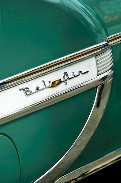 Photograph - 1953 Chevrolet Belair Side Emblem by Jill Reger
