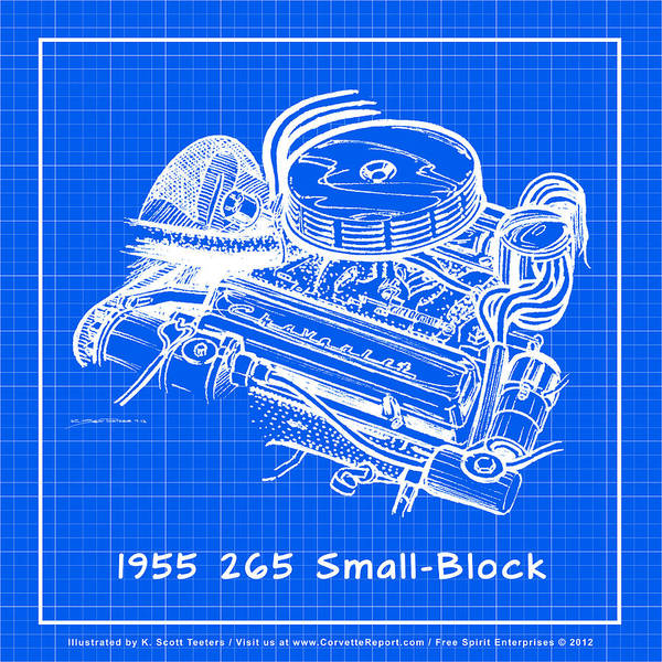 Drawing - 1955 265 Small Block Chevy Corvette Engine Reverse Blueprint by K Scott Teeters