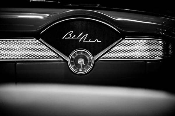 1955 Chevy Bel Air Glow Compartment In Black And White Art Print