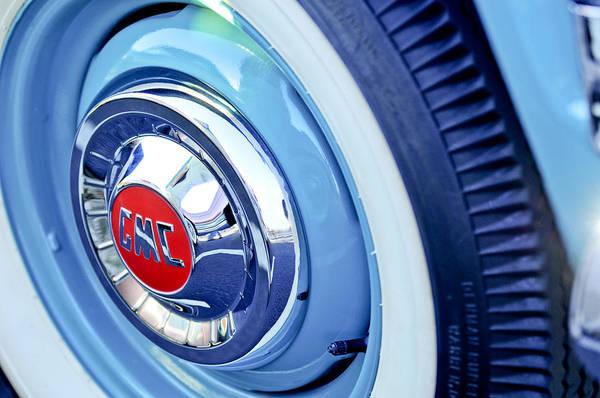 Photograph - 1955 Gmc Suburban Carrier Pickup Truck Wheel Emblem by Jill Reger