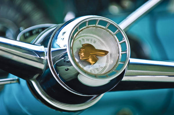 Photograph - 1955 Pontiac Safari Steering Wheel Emblem by Jill Reger