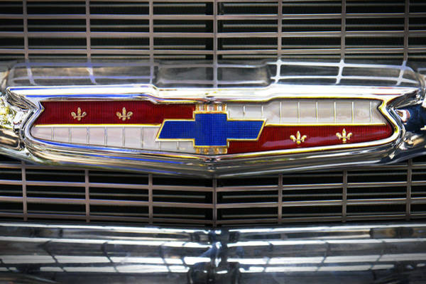 Wall Art - Photograph - 1956 Chevrolet Grill Emblem by Mike McGlothlen