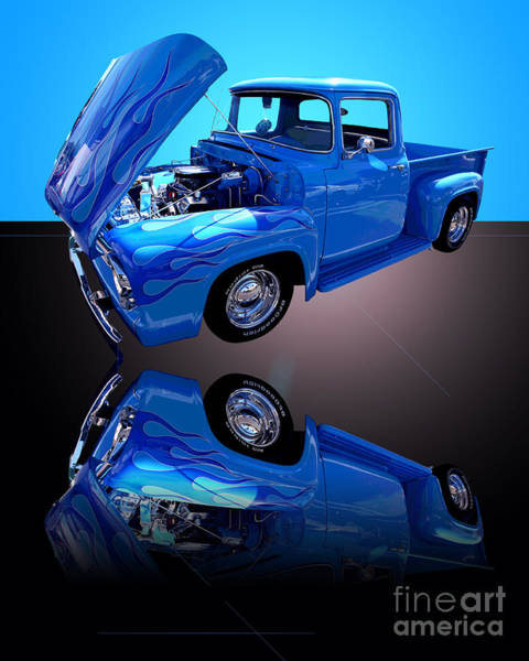 Wall Art - Photograph - 1956 Ford Blue Pick-up by Jim Carrell