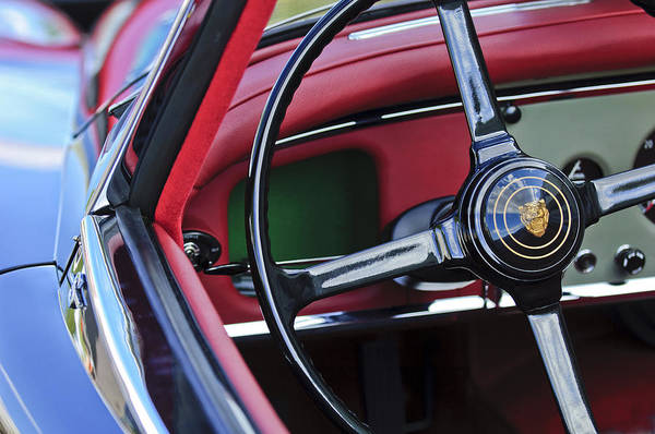 Photograph - 1959 Jaguar Xk150s Ots Steering Wheel Emblem by Jill Reger